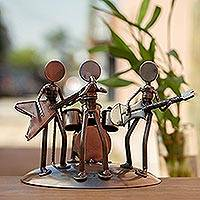 Auto part sculpture, 'Rock and Roll Band' - Rustic Recycled Metal Rock Musicians Sculpture