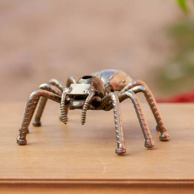 Upcycled metal sculpture, 'Rustic Tarantula' - Eco-Friendly Upcycled Metal Spider Sculpture from Mexico
