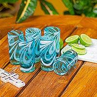Blown glass shot glasses, 'Whirling Aquamarine' (set of 6) - 6 Hand Blown Shot Glasses in Blue and White from Mexico