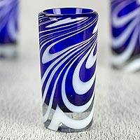 Blown glass shot glasses, 'Whirling Cobalt' (set of 6) - Set of 6 Blue and White Hand Blown Shot Glasses