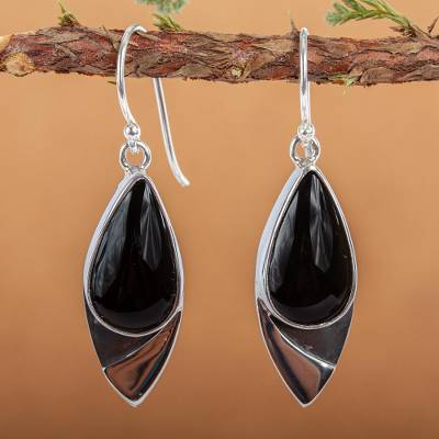 Obsidian dangle earrings, 'Night's Edge' - Contemporary Obsidian Earrings in Taxco 950 Silver