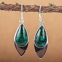 Chrysocolla dangle earrings, 'Ocean's Edge' - Mexican Contemporary Chrysocolla Earrings in Taxco Silver