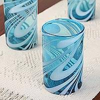 Blown glass water glasses, 'Whirling Aquamarine' (set of 6) - 6 Mexican Hand Blown 15 oz Water Glasses in Aqua and White