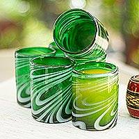 Blown glass rock glasses, 'Whirling Emerald' (set of 6) - Set of 6 Green and White 11 oz Hand Blown Rock Glasses