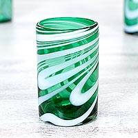 Blown glass water glasses, 'Whirling Emerald' (set of 6) - Set of 6 Green and White 15 oz Hand Blown Water Glasses