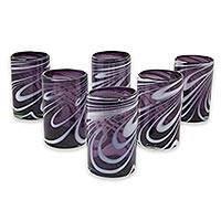 Blown glass water glasses, 'Whirling Plum' (set of 6) - Set of 6 Purple and White Hand Blown 15 oz Water Glasses