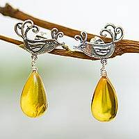 Amber dangle earrings, 'Flirty Birds' - Sterling Silver Bird Earrings with Amber Droplets