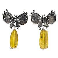 Amber dangle earrings, 'Bat Butterfly Empire' - Butterfly Earrings Handmade in Sterling Silver and Amber