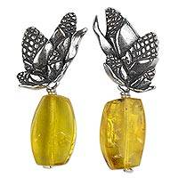 Amber dangle earrings, 'Maize Clusters and Kernels' - Sterling Silver Maize Earrings with Amber Kernels