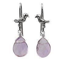 Fluorite dangle earrings, 'Lilac Canary Pond' - Sterling Silver Canary with Fluorite Droplets