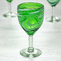 Blown glass wine glasses, 'Whirling Emerald' (set of 6) - Set of 6 Green and White Hand Blown 10 oz Wine Glasses