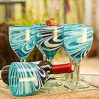 Blown glass wine glasses, 'Whirling Aquamarine' (set of 6) - 6 Hand Blown Wine Glasses in Aqua and White from Mexico
