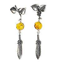 Amber dangle earrings, 'Honoring Nature' - Sterling Silver Earrings with Amber Butterflies and Feathers