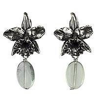Fluorite flower earrings, 'Cattleya Mexicana' - Flower Jewelry Fluorite and Sterling Silver Earrings