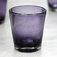 Blown glass juice glasses, 'Amethyst Bubbles' (set of 6) - Set of 6 Lilac Hand Blown 10 oz Juice Glasses from Mexico