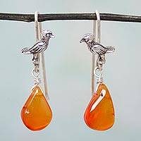 Carnelian dangle earrings, 'Orange Canary Pond' - Sterling Silver Canary with Carnelian Droplets
