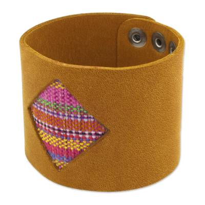 Leather and cotton wristband bracelet, 'Patzcuaro Window' - Ocher Color Leather Bracelet with Pink Cotton Weave