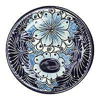 Ceramic salad plates, 'Blue Colonial Blossom' (pair) - 2 Artisan Crafted Hand Painted 10-Inch Ceramic Salad Plates