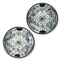 Ceramic dessert plates, 'Blue Colonial Blossom' (pair) - Mexican Hand Painted Ceramic Dessert Plates (Pair)