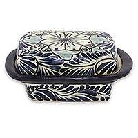 Ceramic butter dish, 'Blue Colonial Blossom' - Talavera-Style Blue Mexican Majolica Butter Dish