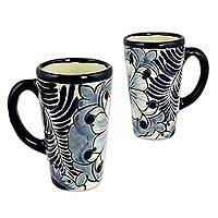 Ceramic tall mugs, 'Blue Colonial Blossom' (pair) - 2 Talavera Style Handcrafted Ceramic 10 oz Mug from Mexico