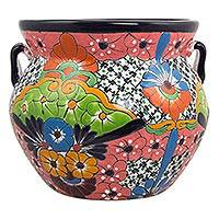 Ceramic flower pot, 'Guanajuato Garden' (13 inch) - Talavera Style Ceramic Handcrafted 13 Inch Flower Pot