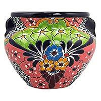 Ceramic flower pot, 'Guanajuato Garden' (11 inch) - 11 Inch Artisan Crafted Talavera Style Ceramic Flower Pot
