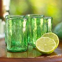Blown glass shot glasses, 'Jade Mist' (set of 4) - Set of 4 Clear Green Blown Glass Shot Glasses