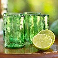 Blown glass tumblers, 'Green Mist' (set of 4) - Set of 4 Artisan Crafted Blown Glass Green Tumblers