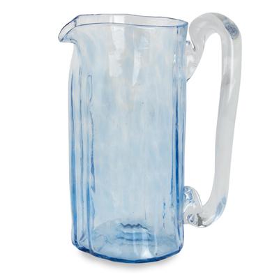 Blue Blown Glass Pitcher 23 oz Artisan Crafted Serveware