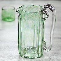 Blown glass pitcher, 'Green Mist' (21 oz) - Green Blown Glass Pitcher 21 oz Artisan Crafted Serveware