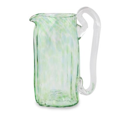 Green Blown Glass Pitcher 21 oz Artisan Crafted Serveware