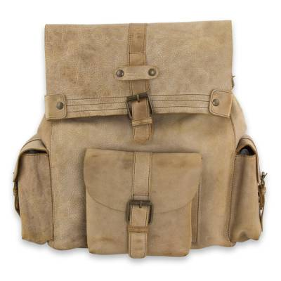 Handcrafted Casual Taupe Leather Backpack from Mexico