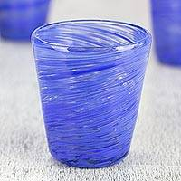 Blown glass rock glasses, 'Cobalt Centrifuge' (set of 6) - Mexican Hand Blown Cobalt Blue 8 oz Rock Glasses Set of 6