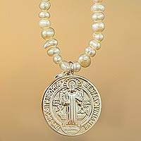 Cultured pearl pendant necklace, 'St Benedict of Nursia' - Pearl Necklace with Sterling Silver St Benedict Medallion