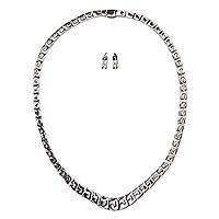 Sterling silver jewelry set, 'Aztec Glyphs' - Artisan Crafted Taxco Sterling Silver Earrings and Necklace