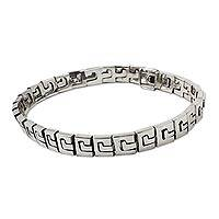 Sterling silver link bracelet, 'Tehuacalco Frieze' - Sterling Silver Link Bracelet Handcrafted in Mexico