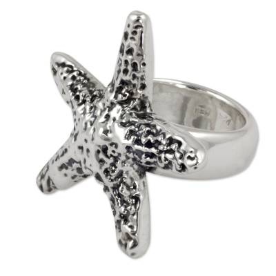 Taxco Artisan Crafted Sterling Silver Ring with Starfish