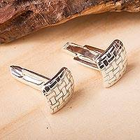 Sterling silver cufflinks, 'Seri Weaving' - Mexican Taxco Silver Artisan Crafted Cufflinks