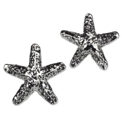 Taxco Artisan Crafted Sterling Silver Starfish Earrings
