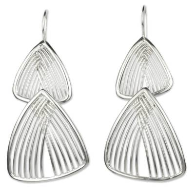 Sterling Silver Hook Earrings with Linked Triangles
