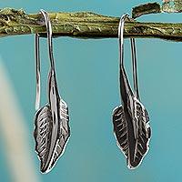 Sterling silver drop earrings, 'Windblown Leaf'