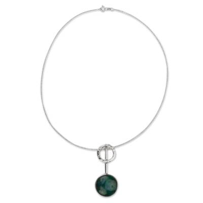 Chrysocolla and Silver 950 Necklace Crafted in Taxco