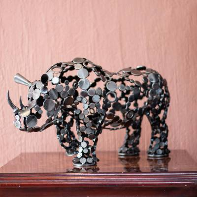 Upcycled metal sculpture, 'Rustic Rhino' - 20-Inch Eco-Friendly Recycled Metal Rhinoceros Sculpture