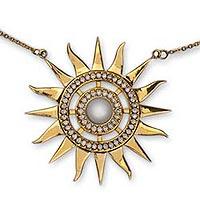 Gold vermeil cultured pearl pendant necklace,
