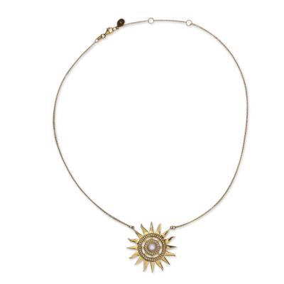 Handcrafted Gold Vermeil Sun Necklace with Pearl and CZ