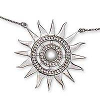 Cultured pearl pendant necklace, 'Dazzling Sun' - Sterling Silver Handcrafted Sun Necklace with Pearl and CZ