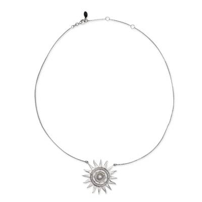 Sterling Silver Handcrafted Sun Necklace with Pearl and CZ