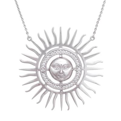 Face of the Sun Theme Sterling Silver and CZ Necklace
