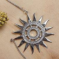 Sterling silver pendant necklace, 'Dazzling Sun' - Sterling Silver Sun Theme Necklace with Cubic Zirconia